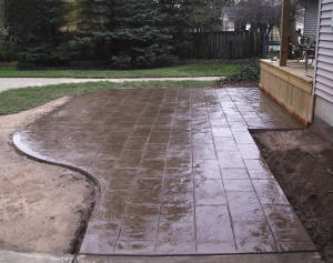 Stamped concrete patio - Clio, MI